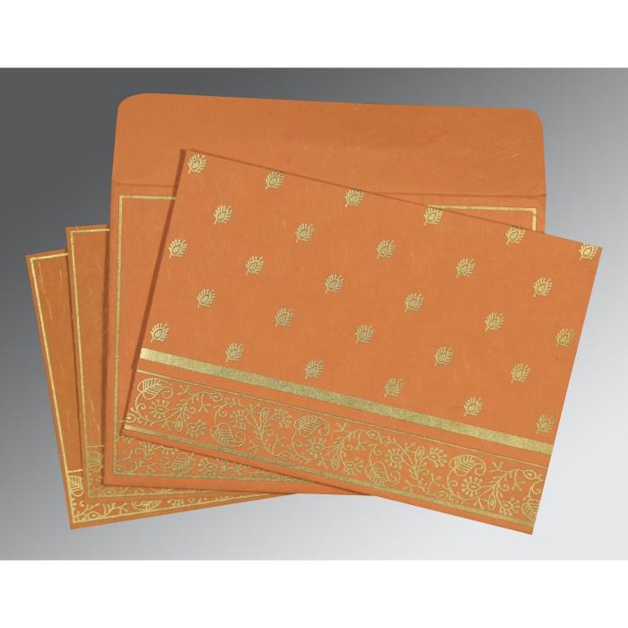 Orange Handmade Silk Screen Printed Wedding Card : CD-8215L - IndianWeddingCards