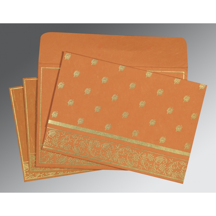 Orange Handmade Silk Screen Printed Wedding Card : CS-8215L - IndianWeddingCards