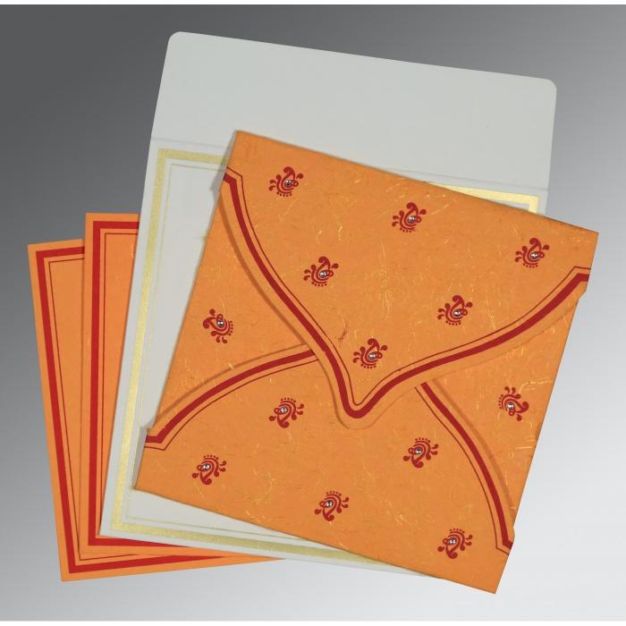 Orange Handmade Silk Unique Themed - Screen Printed Wedding Card : CW-8203J - IndianWeddingCards