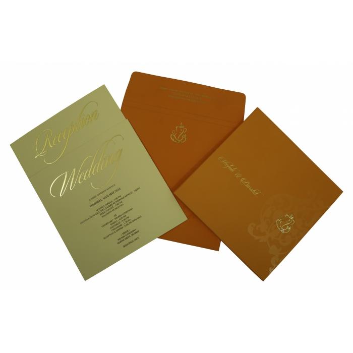 Orange Matte Box Themed - Screen Printed Wedding Invitation : CI-1831 - IndianWeddingCards