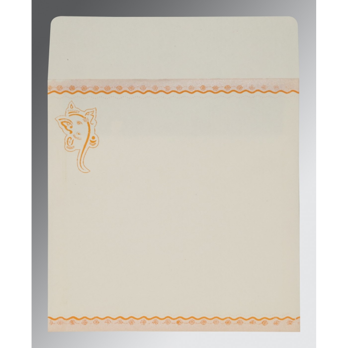 Orange Matte Embossed Wedding Invitation : CW-2214 - IndianWeddingCards