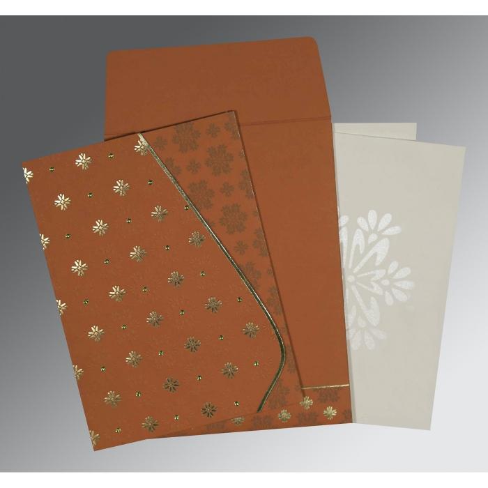 Orange Matte Floral Themed - Foil Stamped Wedding Invitation : CS-8237J - IndianWeddingCards