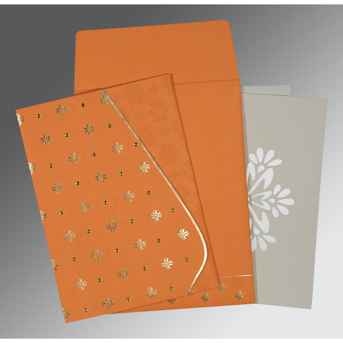 Orange Matte Floral Themed - Foil Stamped Wedding Invitations : CW-8237K - IndianWeddingCards