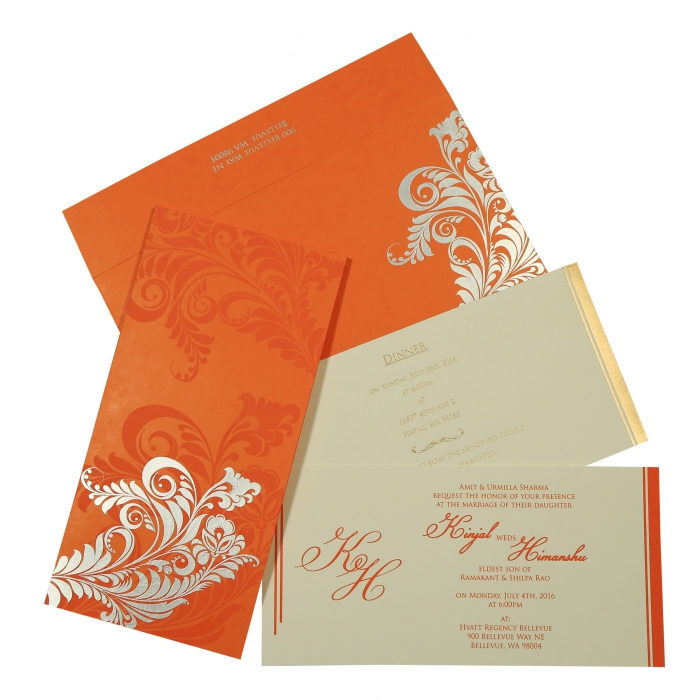 Orange Matte Floral Themed - Screen Printed Wedding Card : CD-8259D - IndianWeddingCards