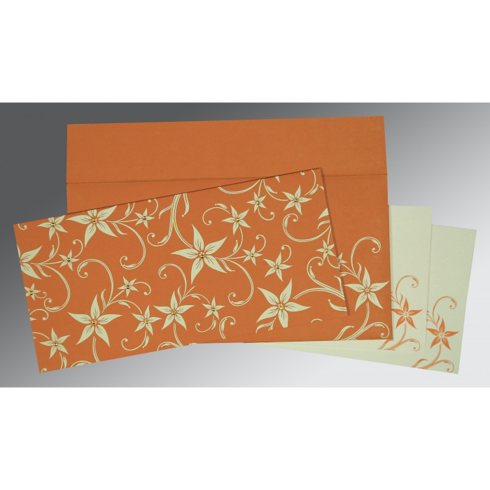 Orange Matte Floral Themed - Screen Printed Wedding Invitation : CI-8225J - IndianWeddingCards
