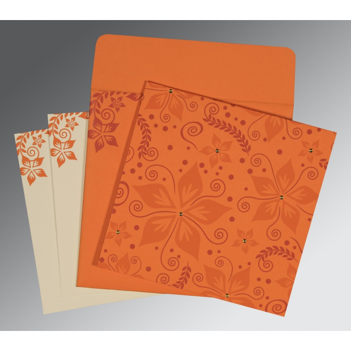 Orange Matte Floral Themed - Screen Printed Wedding Invitation : CW-8240K - IndianWeddingCards
