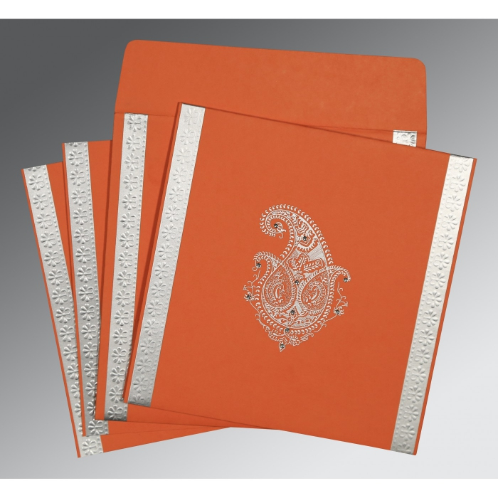 Orange Matte Paisley Themed - Embossed Wedding Invitation : CW-8231M - IndianWeddingCards