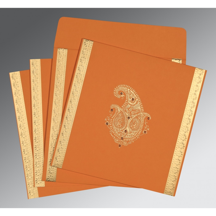 Orange Matte Paisley Themed - Embossed Wedding Invitation : CW-8231N - IndianWeddingCards