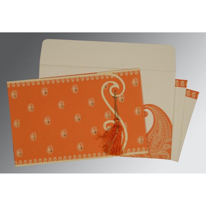 Orange Matte Paisley Themed - Screen Printed Wedding Invitation : CS-8252D - IndianWeddingCards