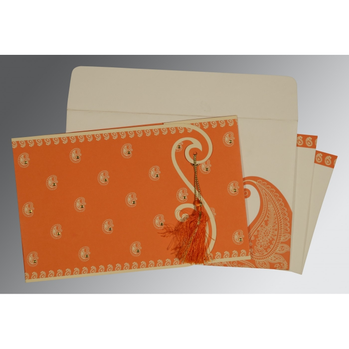 Orange Matte Paisley Themed - Screen Printed Wedding Invitations : CW-8252D - IndianWeddingCards