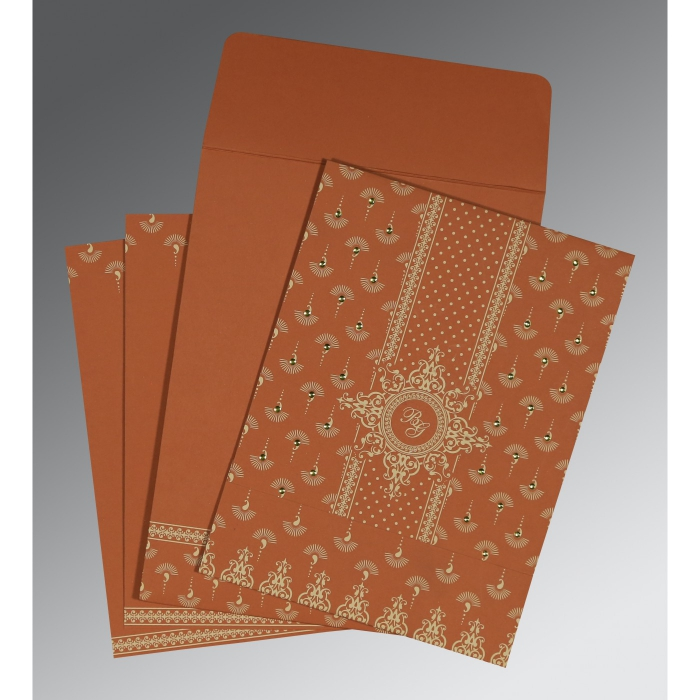 Orange Matte Screen Printed Wedding Invitation : CD-8247F - IndianWeddingCards