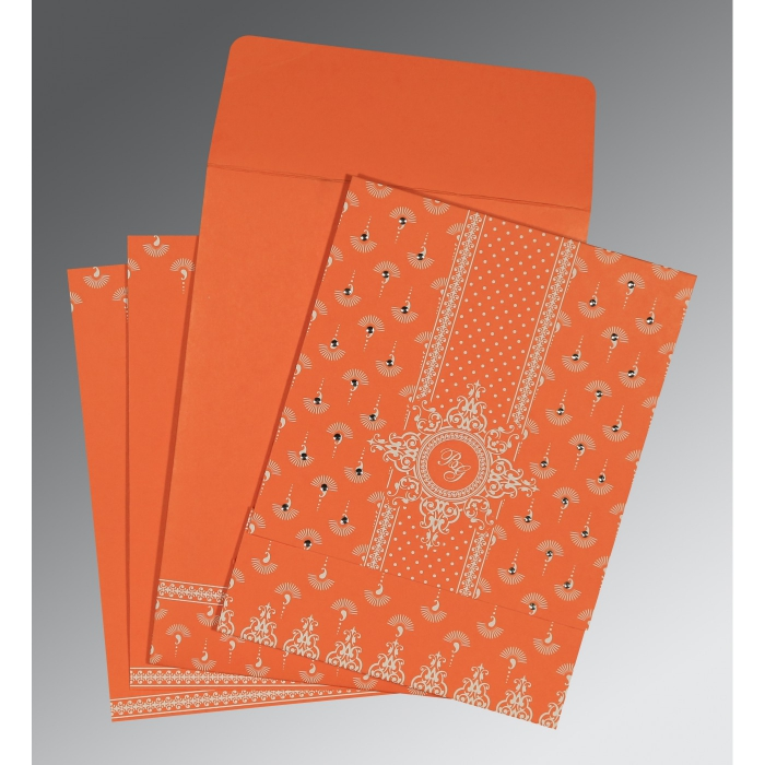 Orange Matte Screen Printed Wedding Invitation : CW-8247I - IndianWeddingCards