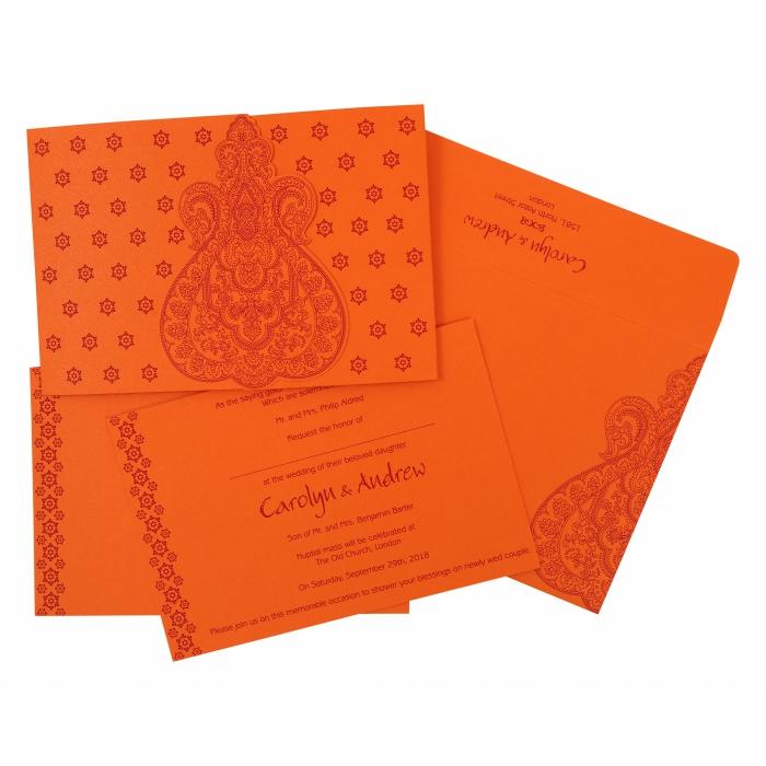 Orange Paisley Themed - Screen Printed Wedding Invitation : CI-801D - IndianWeddingCards