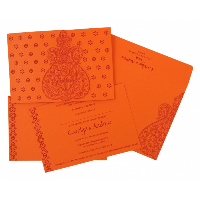 Orange Paisley Themed - Screen Printed Wedding Invitation : CW-801D - IndianWeddingCards
