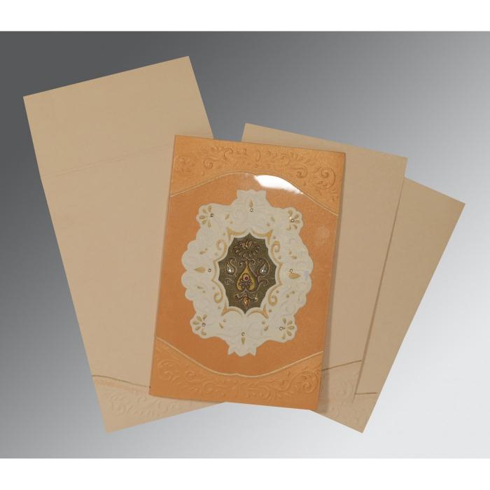 Orange Shimmery Box Themed - Embossed Wedding Invitation : CD-1367 - IndianWeddingCards