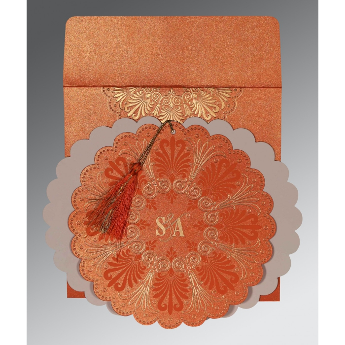 Orange Shimmery Floral Themed - Embossed Wedding Card : CW-8238F - IndianWeddingCards
