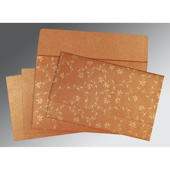 Orange Shimmery Floral Themed - Screen Printed Wedding Invitations : CD-8226E - IndianWeddingCards