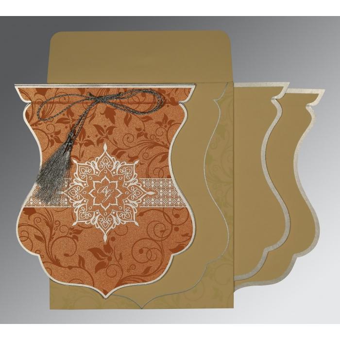 Orange Shimmery Floral Themed - Screen Printed Wedding Card : CS-8229I - IndianWeddingCards