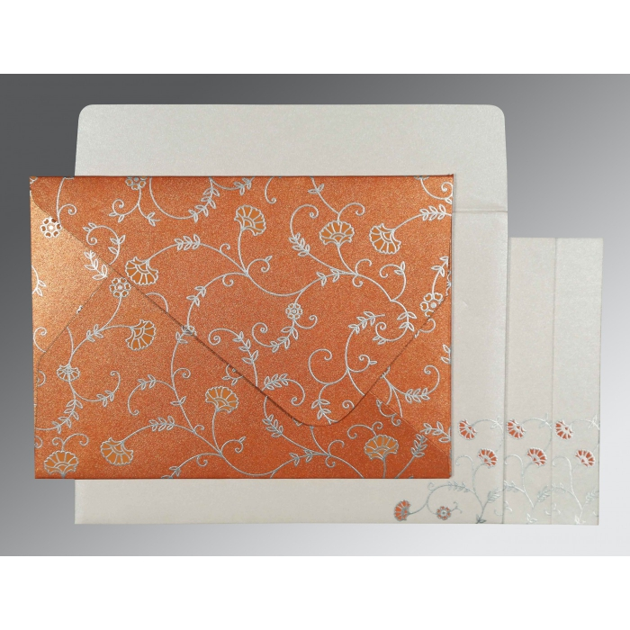 Orange Shimmery Floral Themed - Screen Printed Wedding Invitation : CW-8248E - IndianWeddingCards