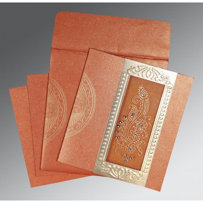 Orange Shimmery Paisley Themed - Foil Stamped Wedding Invitation : CI-8230T - IndianWeddingCards