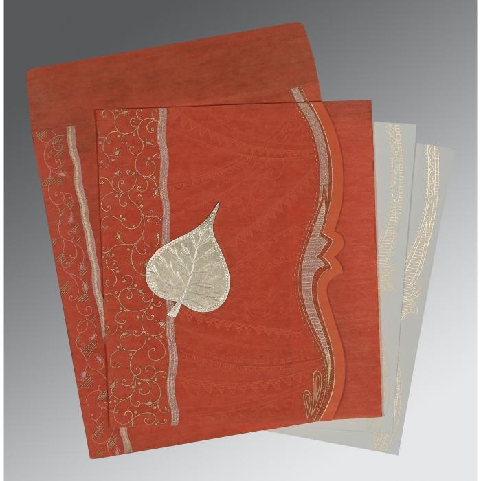 Orange Wooly Embossed Wedding Card : CD-8210D - IndianWeddingCards