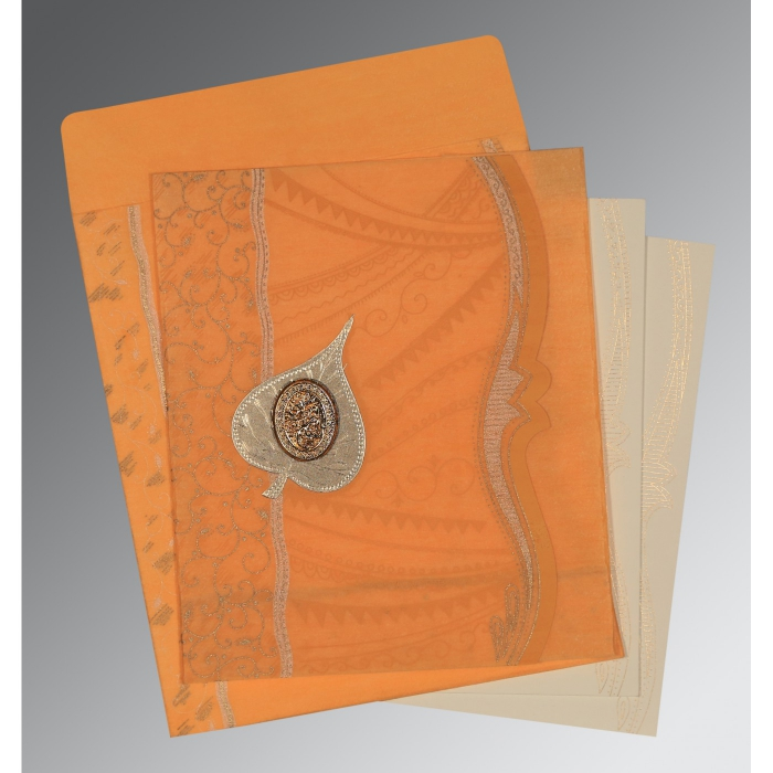 Orange Wooly Embossed Wedding Card : CI-8210L - IndianWeddingCards