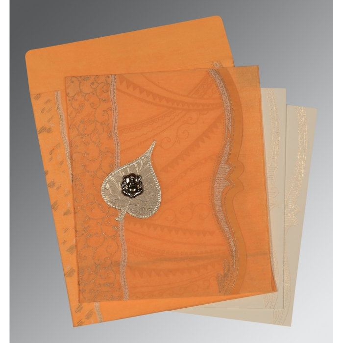 Orange Wooly Embossed Wedding Card : CIN-8210L - IndianWeddingCards