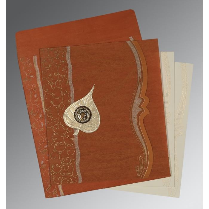 Orange Wooly Embossed Wedding Card : CS-8210D - IndianWeddingCards