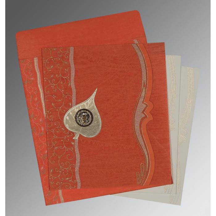 Orange Wooly Embossed Wedding Card : CS-8210F - IndianWeddingCards