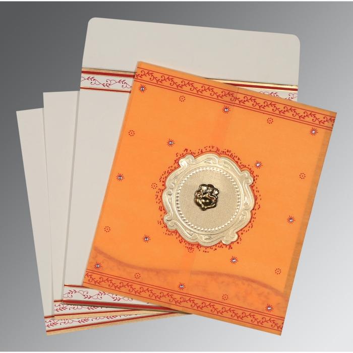 Orange Wooly Embossed Wedding Invitation : CW-8202B - IndianWeddingCards