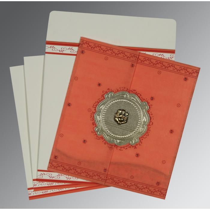 Orange Wooly Embossed Wedding Invitation : CW-8202N - IndianWeddingCards