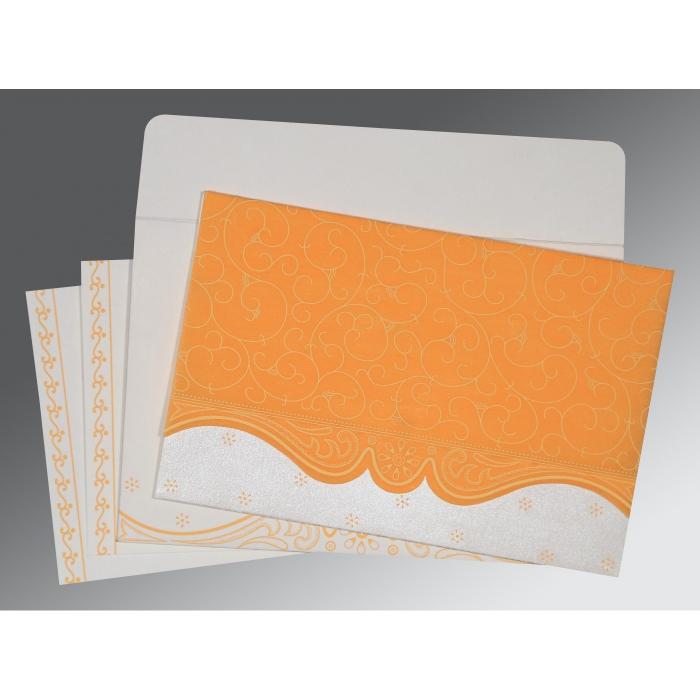 Orange Wooly Embossed Wedding Invitation : CW-8221F - IndianWeddingCards