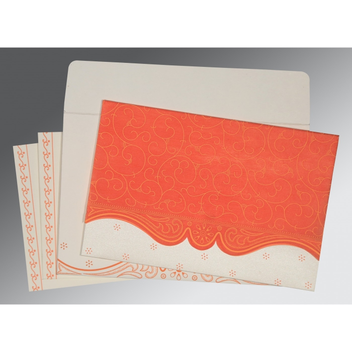 Orange Wooly Embossed Wedding Invitation : CW-8221L - IndianWeddingCards