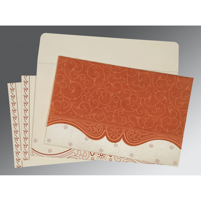 Orange Wooly Embossed Wedding Invitation : CW-8221O - IndianWeddingCards
