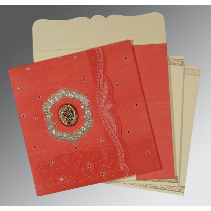 Orange Wooly Floral Themed - Embossed Wedding Card : CI-8209M - IndianWeddingCards