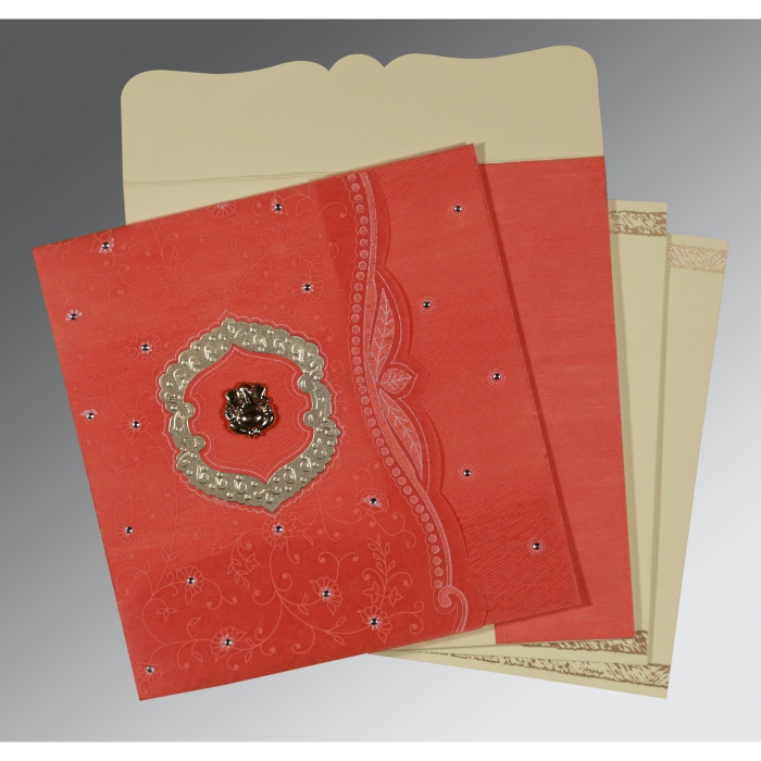 Orange Wooly Floral Themed - Embossed Wedding Card : CIN-8209M - IndianWeddingCards