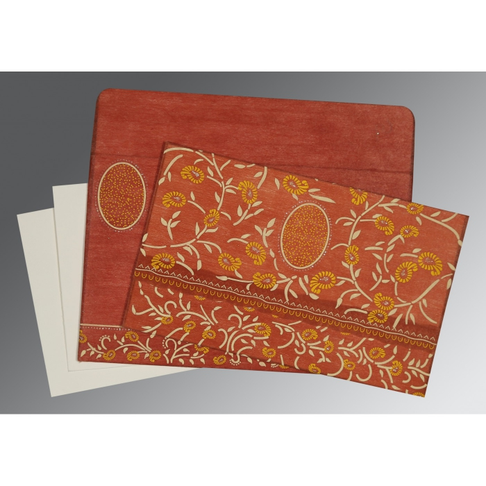 Orange Wooly Floral Themed - Glitter Wedding Card : CD-8206G - IndianWeddingCards