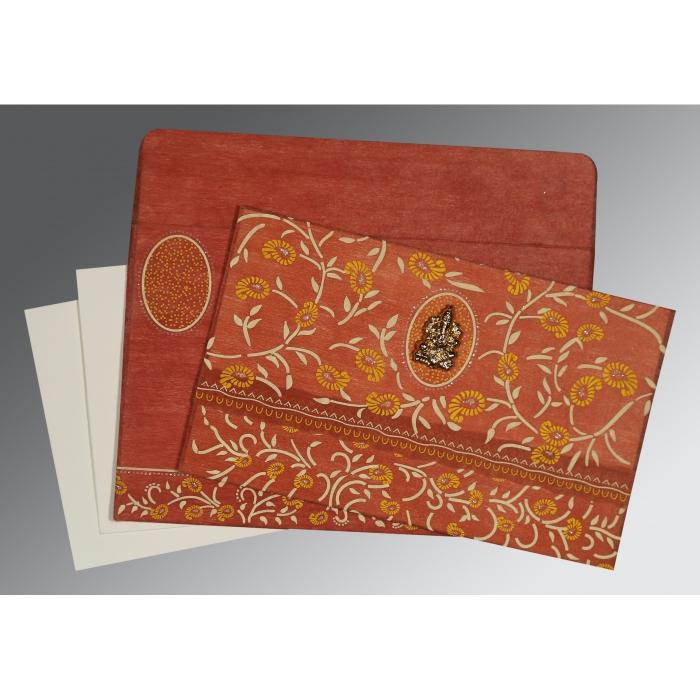 Orange Wooly Floral Themed - Glitter Wedding Card : CW-8206G - IndianWeddingCards