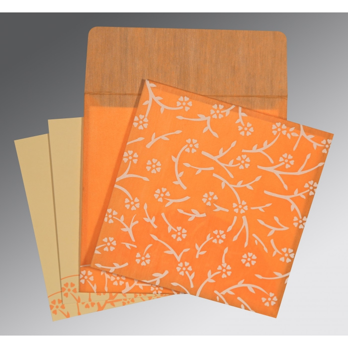 Orange Wooly Floral Themed - Screen Printed Wedding Invitation : CD-8216O - IndianWeddingCards