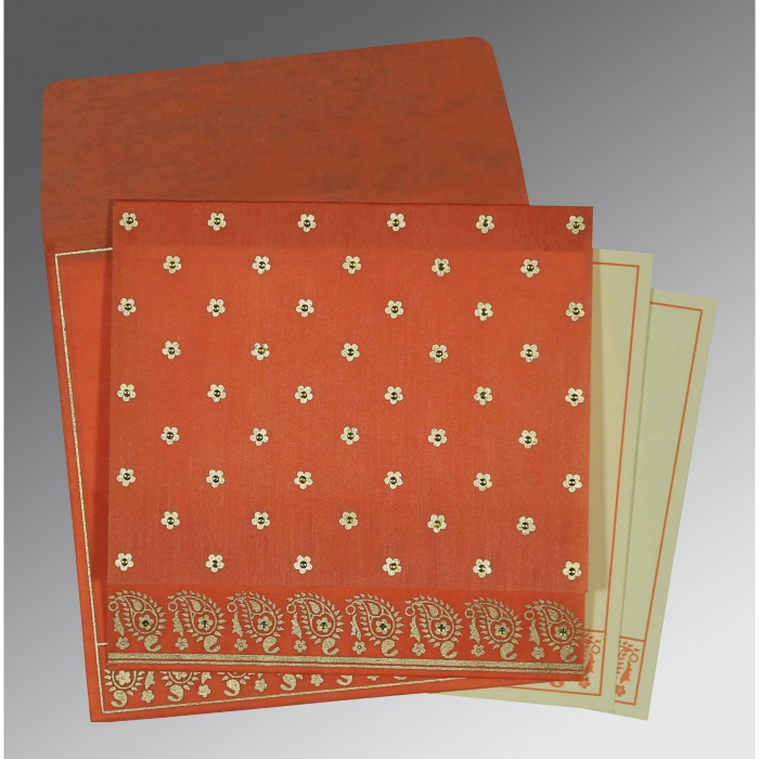 Orange Wooly Floral Themed - Screen Printed Wedding Card : CD-8218E - IndianWeddingCards