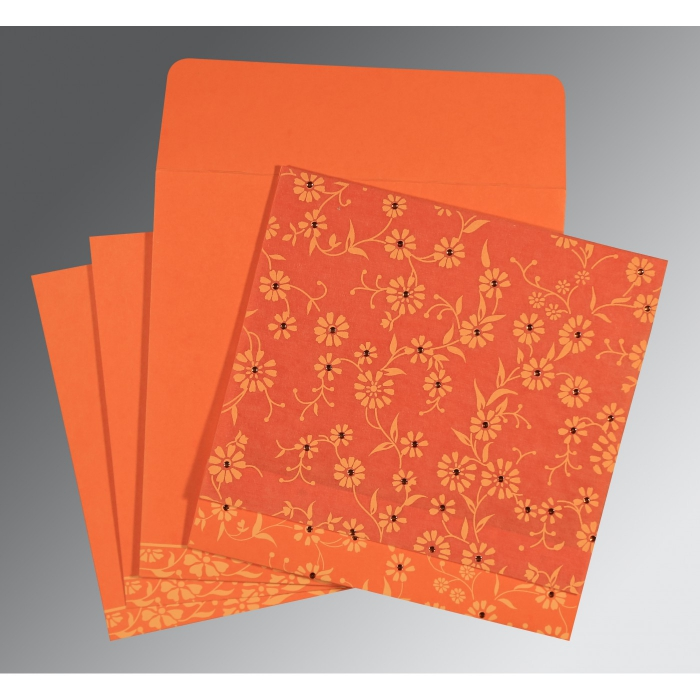 Orange Wooly Floral Themed - Screen Printed Wedding Card : CD-8222L - IndianWeddingCards