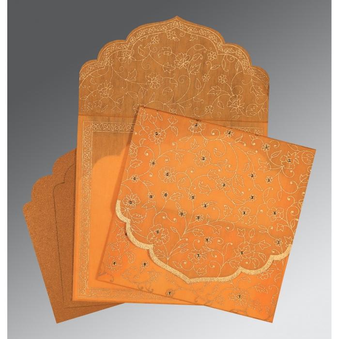 Orange Wooly Floral Themed - Screen Printed Wedding Invitation : CI-8211L - IndianWeddingCards