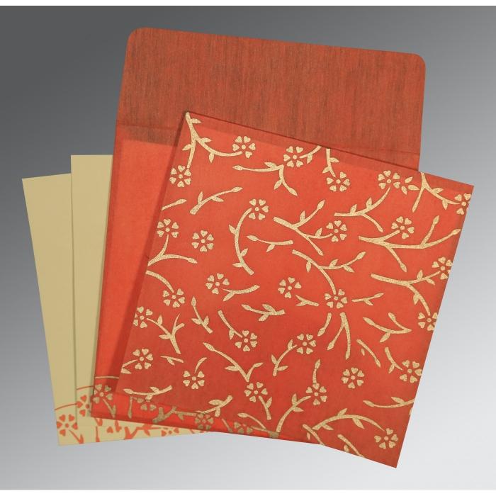 Orange Wooly Floral Themed - Screen Printed Wedding Invitation : CI-8216G - IndianWeddingCards