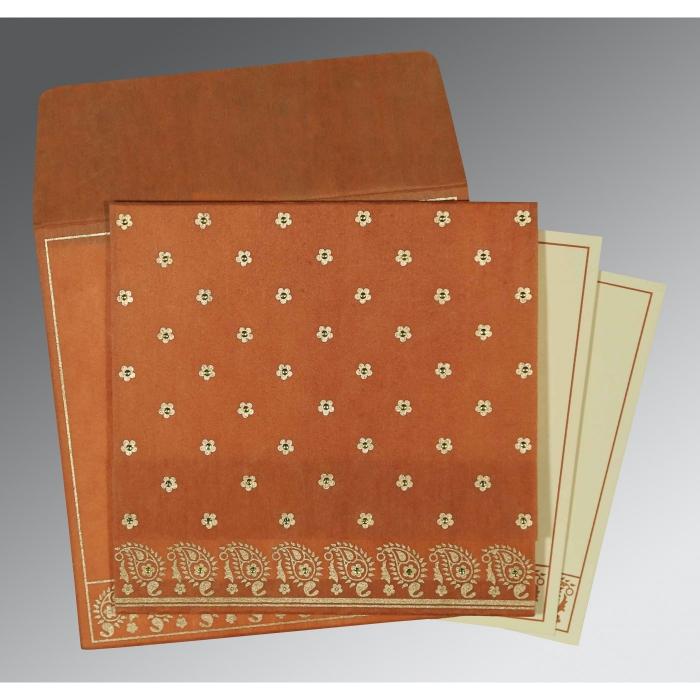 Orange Wooly Floral Themed - Screen Printed Wedding Card : CS-8218C - IndianWeddingCards