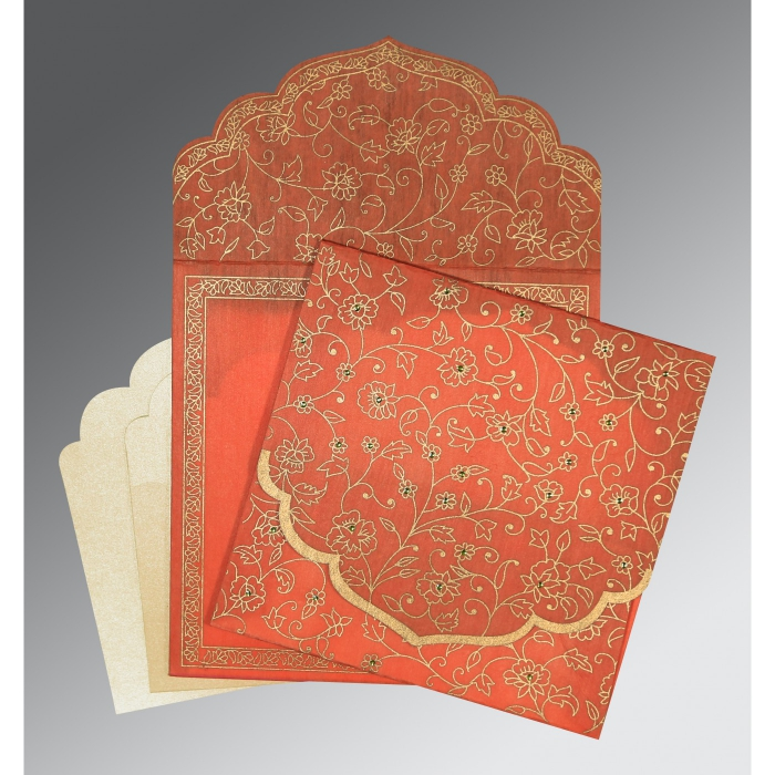Orange Wooly Floral Themed - Screen Printed Wedding Invitation : CW-8211F - IndianWeddingCards