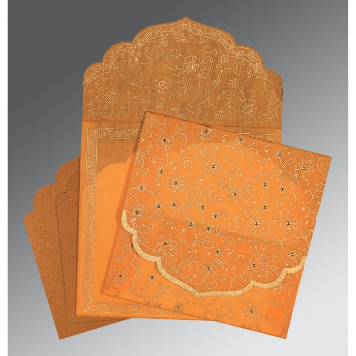 Orange Wooly Floral Themed - Screen Printed Wedding Invitation : CW-8211L - IndianWeddingCards