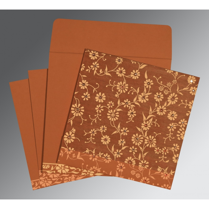 Orange Wooly Floral Themed - Screen Printed Wedding Card : CW-8222H - IndianWeddingCards
