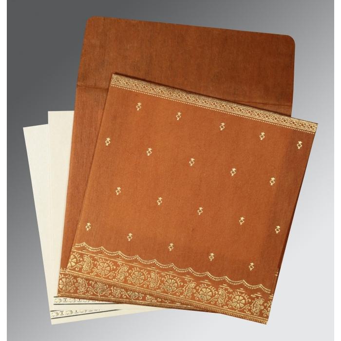 Orange Wooly Foil Stamped Wedding Card : CI-8242E - IndianWeddingCards