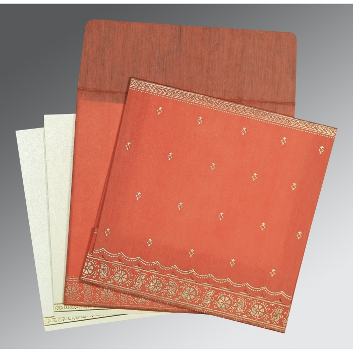 Orange Wooly Foil Stamped Wedding Card : CS-8242I - IndianWeddingCards