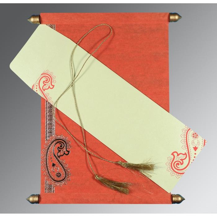Orange Wooly Foil Stamped Wedding Card : CSC-5015L - IndianWeddingCards